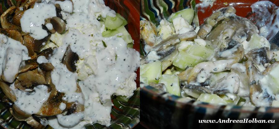 Salata de castraveti, telemea si ciuperci cu sos de menta