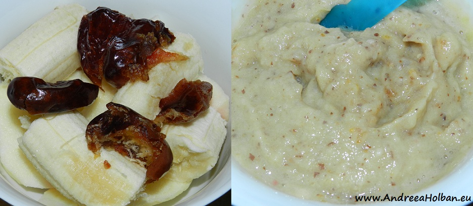 Piure de banana, mar si curmale (dupa 7 luni)