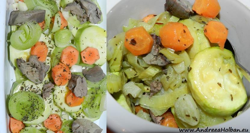 Piure de dovlecel, morcov si praz cu ficatei si usturoi la cuptor (dupa 8 luni)
