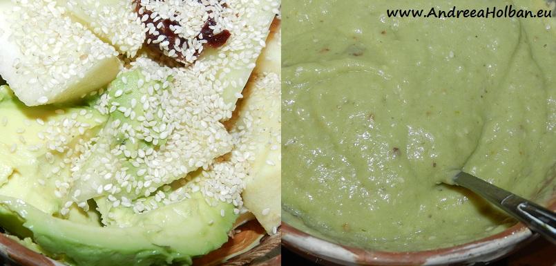 Piure de pepene galben, avocado, banana, mar, curmale si seminte de susan (dupa 8 luni)