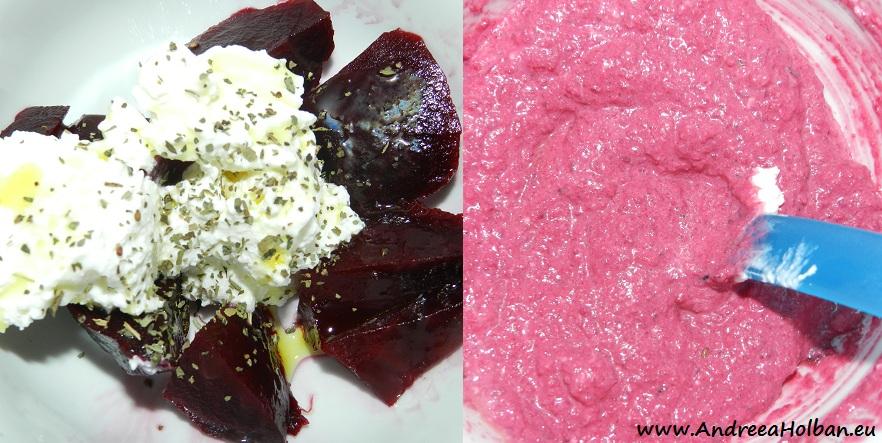 Piure de sfecla rosie cu branza proaspata si busuioc (dupa 8 luni)