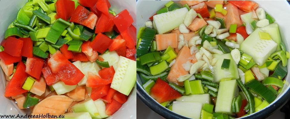 Supa-crema cartof dulce, dovlecel, praz, ardei si usturoi (dupa 7 luni)