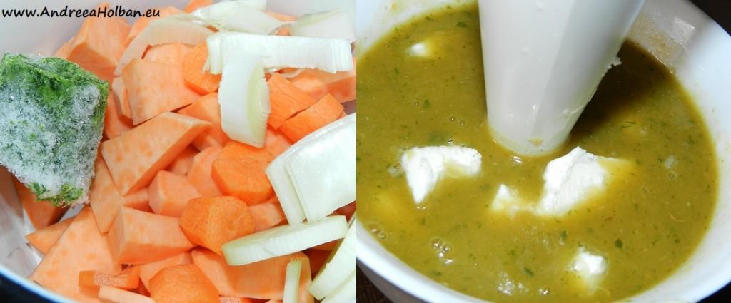 Supa crema de cartof dulce, morcov, spanac si praz cu tarhon (dupa 10 luni)