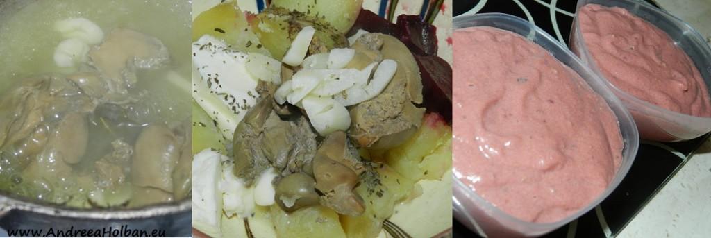 Pate de ficat cu sfecla rosie, cartof si usturoi (dupa 8 luni)