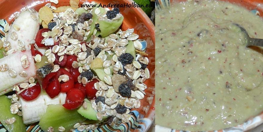 Piure de banana, cirese, avocado, kiwi si musli cu fructe (dupa 12 luni)