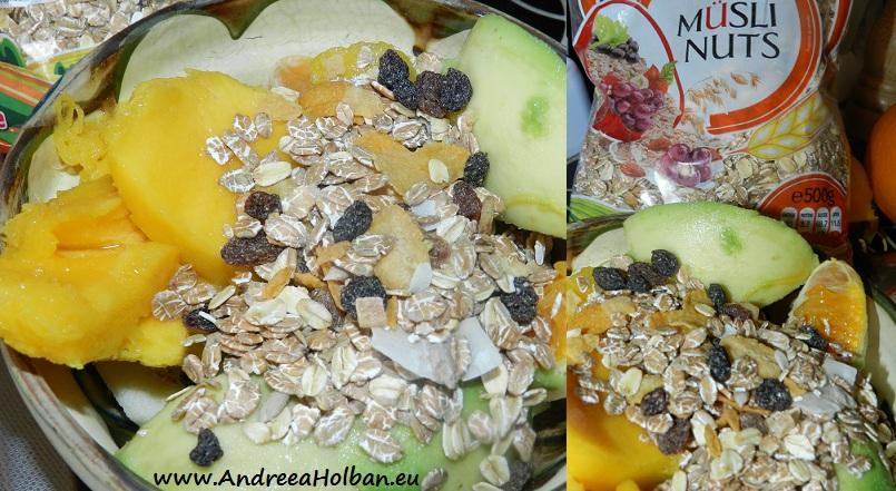 Piure de fructe (mango, mar, portocala, avocado) si musli cu fructe (dupa 12 luni)