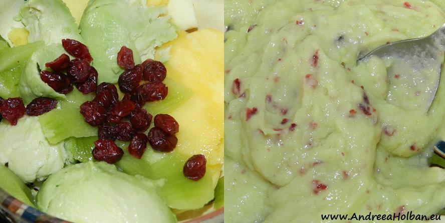 Piure de mango, mar, avocado, kiwi si merisoare (dupa 12 luni)
