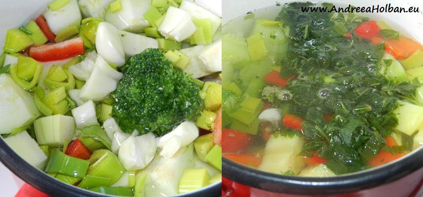Supa crema de dovlecel, broccoli, ardei, praz, usturoi si leustean (dupa 10 luni)