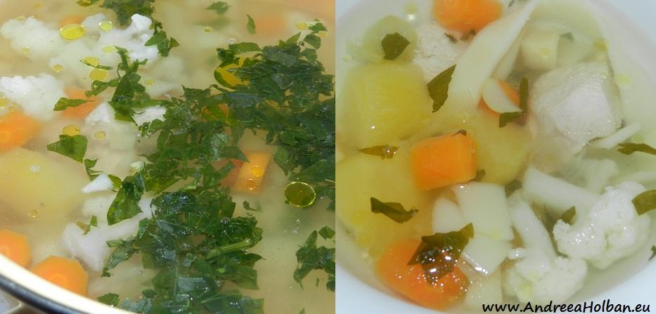 Bors de curcan cu morcov, conopida, cartof, praz si taietei (dupa 10 luni)