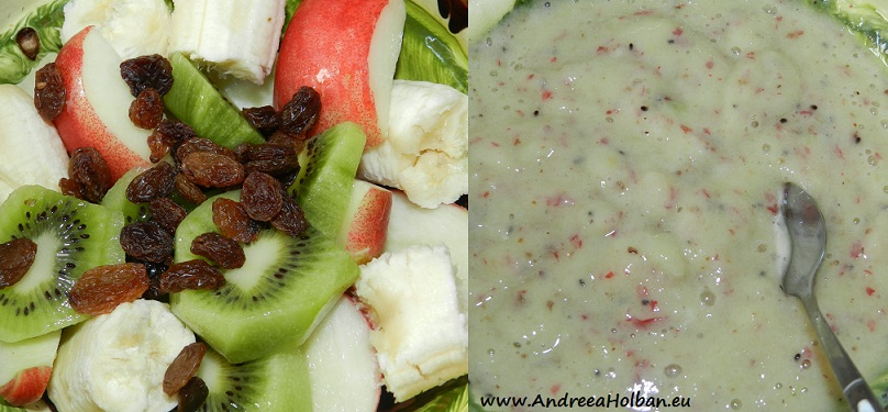 Piure de banana, nectarine, kiwi si stafide (dupa 12 luni)