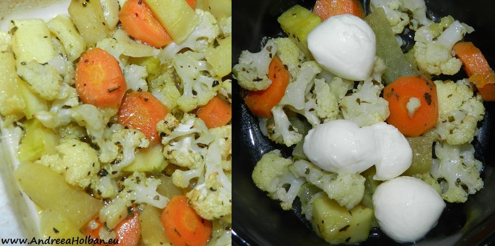 Piure de conopida, dovlecel, morcov, praz si mozzarela (dupa 10 luni)
