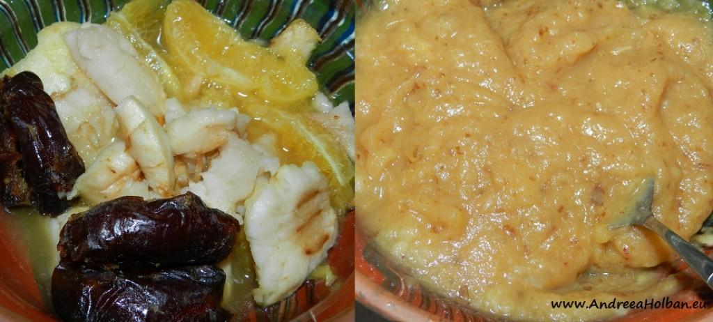 Piure de mar copt cu portocala si curmale (dupa 8 luni)