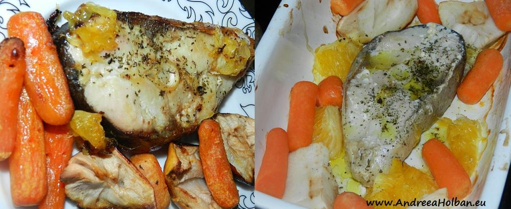 Salau si morcovi la cuptor, in sos de portocale, mere si menta (dupa 8 luni)