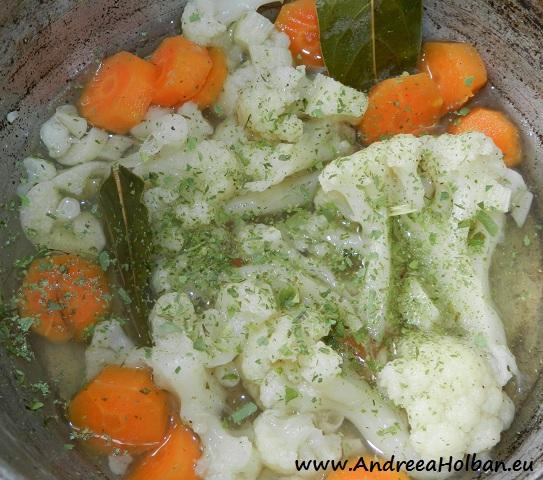 Supa crema de conopida cu morcov, usturoi, dafin si tarhon (dupa 10 luni)