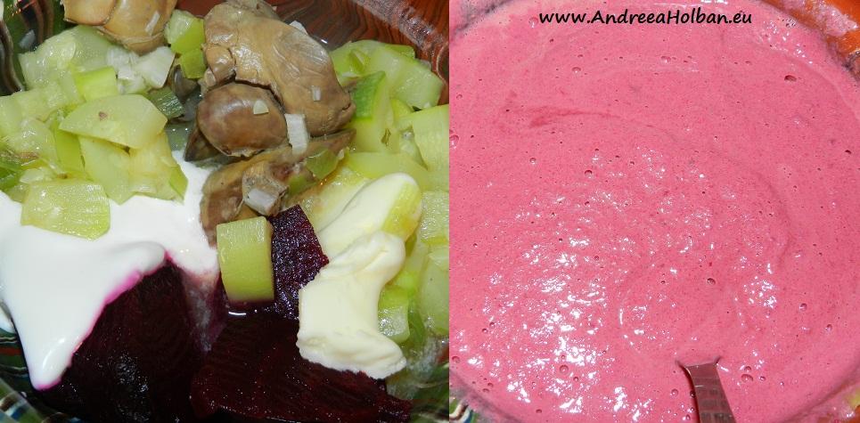 Pate de ficat cu dovlecel, sfecla rosie, praz si usturoi (dupa 8 luni)