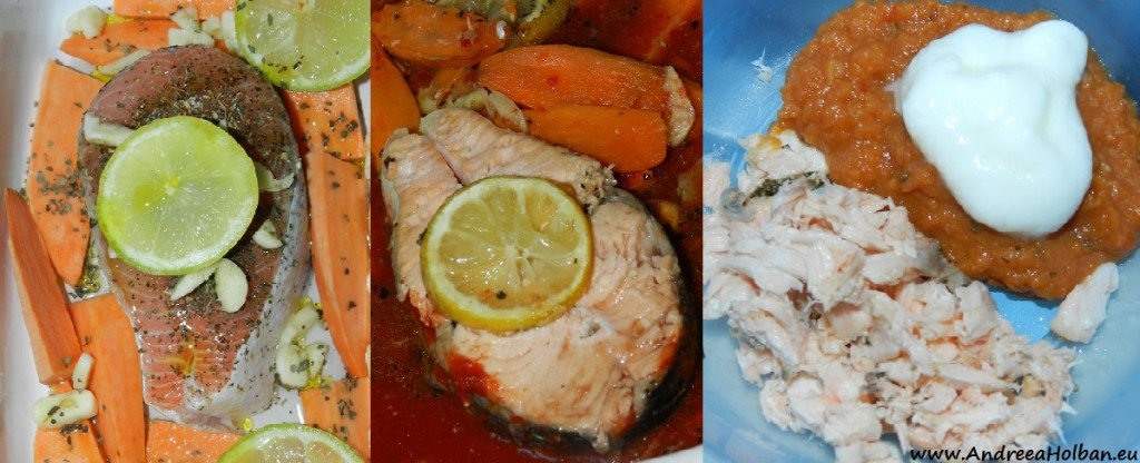 Somon la cuptor cu piure de cartofi dulci si sos de rosii, usturoi, lamaie si sirop de brad (dupa 12 luni)