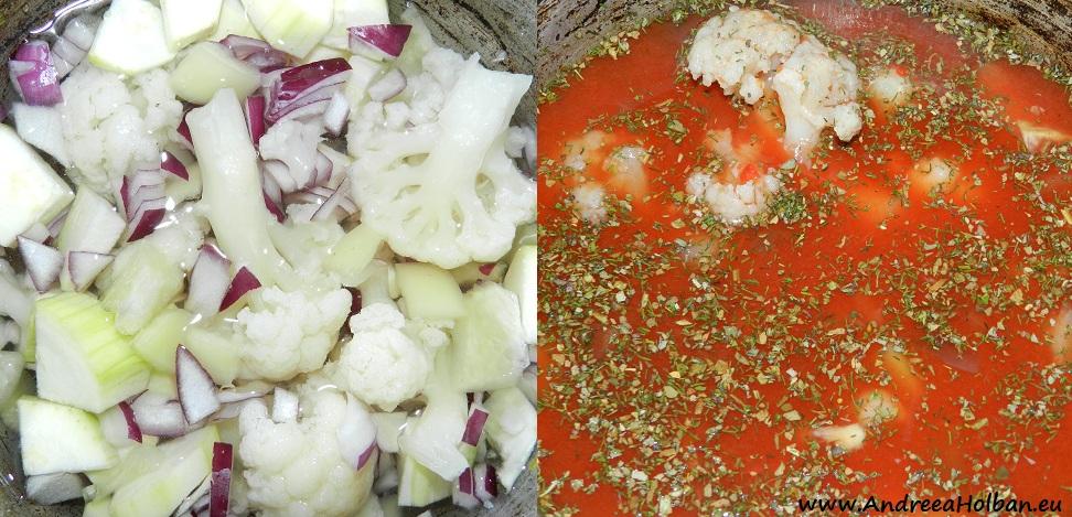 Supa de conopida cu ceapa rosie, ardei, dovlecel si suc de rosii aromat cu busuioc si marar (dupa 10 luni)