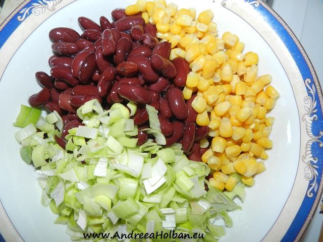 Salata de fasole cu porumb si praz