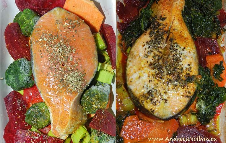 Somon la cuptor cu piure de sfecla rosie, cartof dulce, spanac, praz si mirodenii (dupa 12 luni)