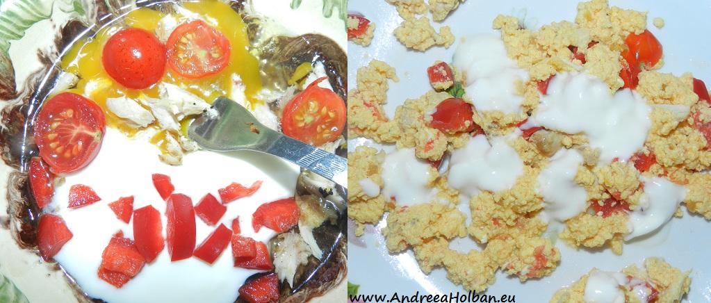 Omleta la gratar cu rosii cherry, branza, smantana, ardei capia rosu si pui (dupa 12 luni)
