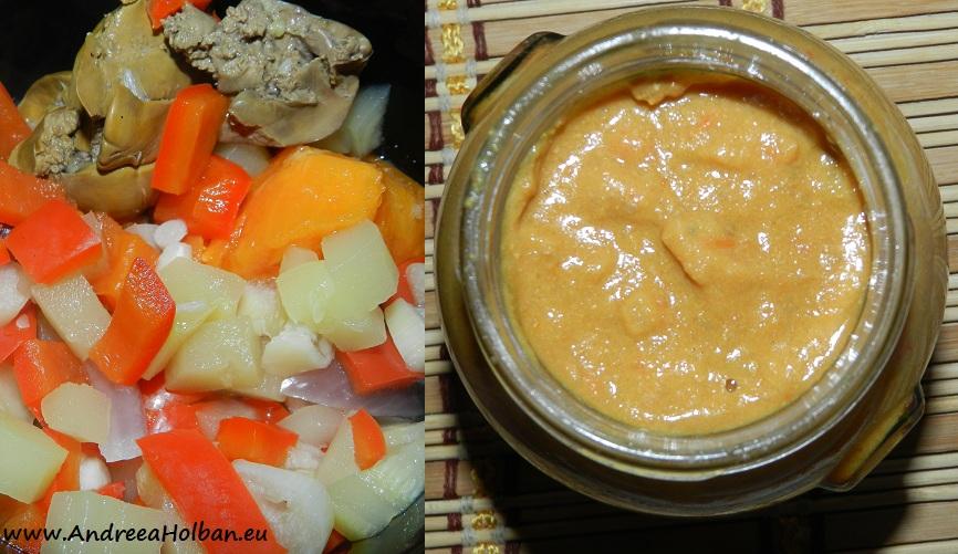 Pate de ficat cu dovlecel, ardei capia, rosie galbena, usturoi si cartof fiert in coaja (dupa 10 luni)