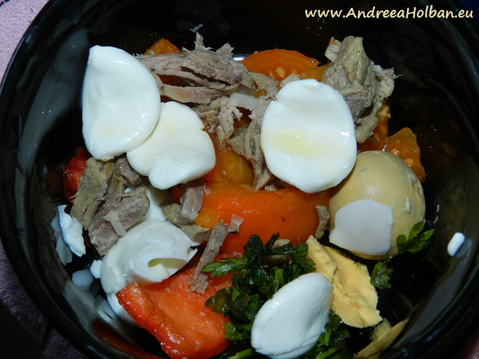 Piure de rosie galbena, carne de vita, mozzarella, galbenus de ou, ardei capia si verdeata (dupa 8 luni)