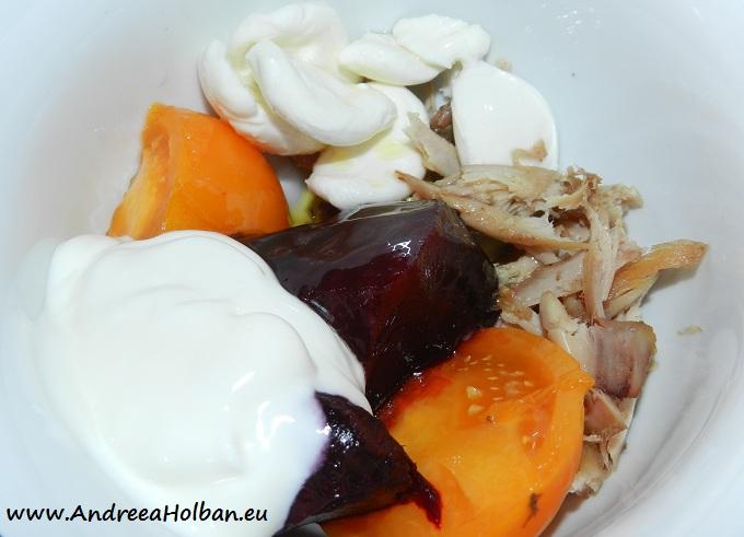 Piure de sfecla rosie, carne de curcan, mozzarella, rosie galbena si smantana (dupa 10 luni)