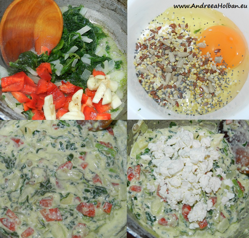 Spanac cu ardei capia, usturoi, ceapa, ou, smanatana, amestec de seminte si branza (dupa 12 luni)