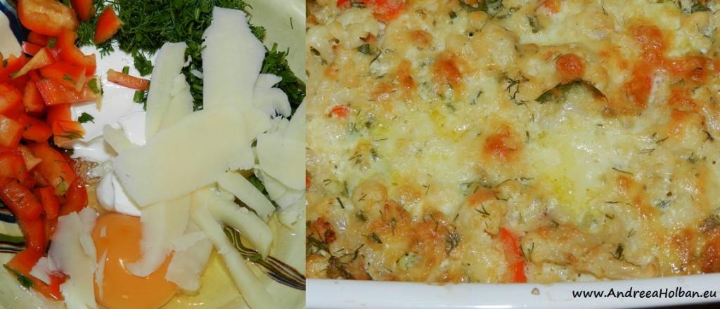Conopida gratinata la cuptor, cu ardei capia, smantana, cascaval si ou (dupa 12 luni)