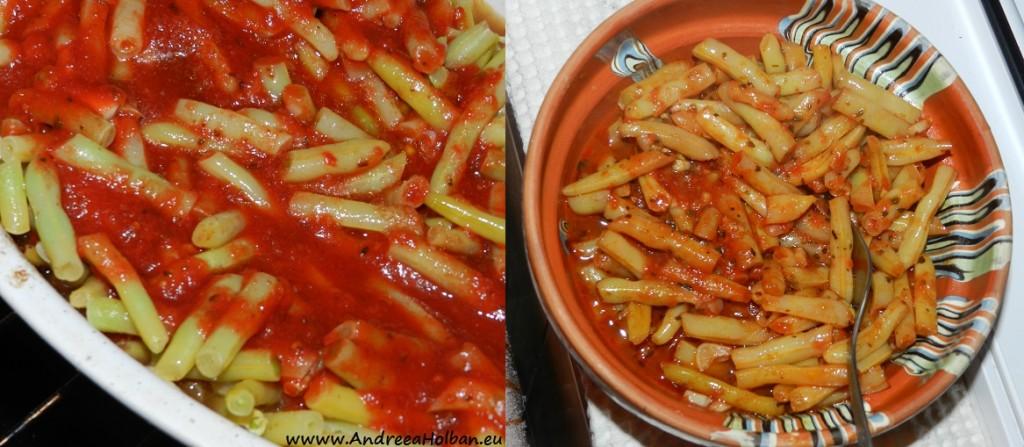 Fasole pastai la cuptor, cu usturoi, busuioc si sos de rosii picantel