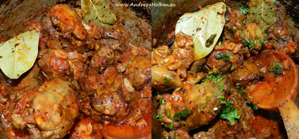 Ficatei in sos de rosii, cu ceapa, usturoi, frunze de dafin, busuioc si zahar brut (dupa 12 luni)