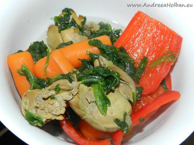 Pate de ficat cu spanac, ardei capia, morcov si usturoi (dupa 10 luni)