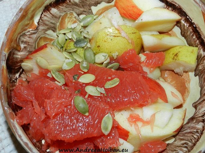 Piure de mar, para, banana, grapefruit rosu si seminte de dovleac (dupa 12 luni)
