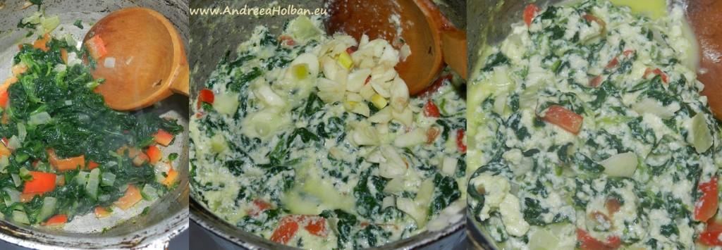 Spanac cu ou, iaurt de capra, branza, ardei capia, ceapa si usturoi (dupa 10 luni)