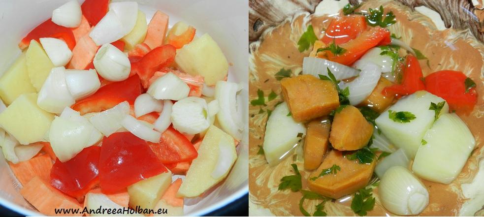 Supa de cartof dulce, cartof alb, ceapa, ardei capia si usturoi (dupa 6 luni)