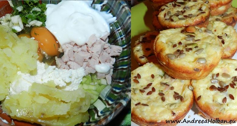 Briose cu branza, piept de curcan, cartof, smantana, praz, usturoi, verdeata si amestec de seminte (dupa 12 luni)