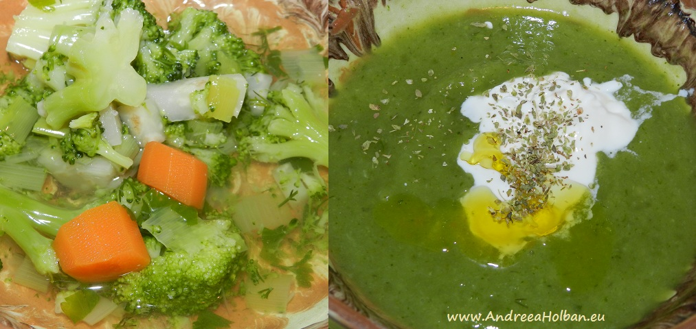 Supa crema de broccoli cu morcov, praz, telina si usturoi (dupa 10 luni)