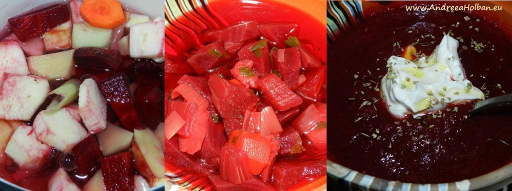 Supa-crema de sfecla rosie, vanata, praz, morcov si cartof (dupa 8 luni)