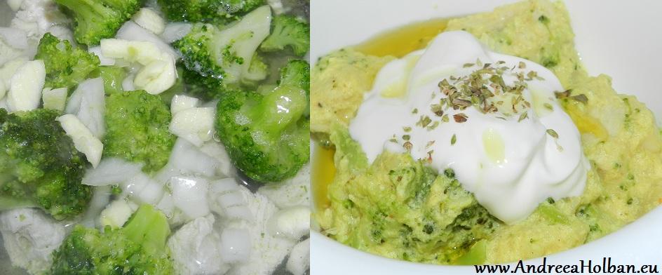 Broccoli cu pui, ceapa, usturoi si sos de smantana cu ou (dupa 10 luni)