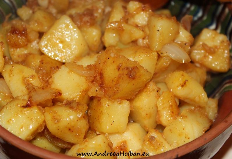 Cartofi taranesti cu ceapa, usturoi si boia de ardei dulce (dupa 12 luni)