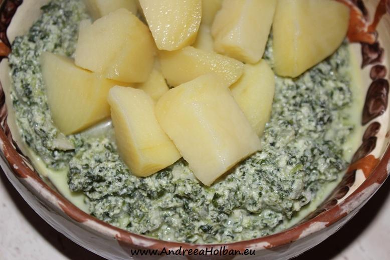 Mancarica de spanac cu usturoi, ceapa, cartof, branza, ou si smantana (dupa 10 luni)