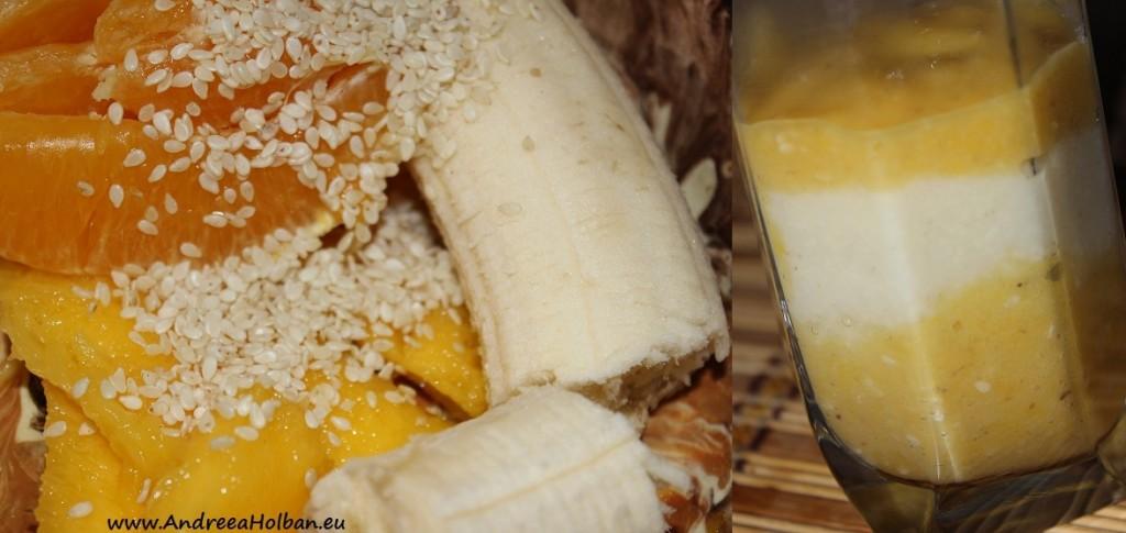 Piure de banana, mango, portocala si seminte de susan (dupa 9 luni)
