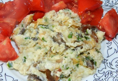 Omleta cu ciuperci, branza si verdeata (dupa 24 luni)