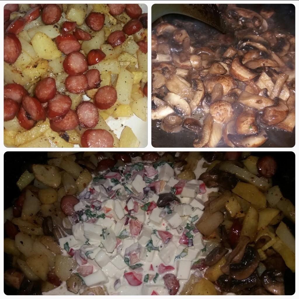 Pui vienez reinterpretat cu cabanos ciuperci telemea cartofi