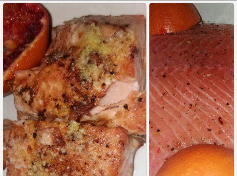 Somon in suc de portocale rosii si crusta de parmezan - la cuptor